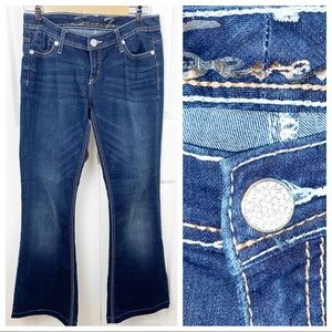 SEVEN7 28 Flare Denim Jeans Crystal Front Button